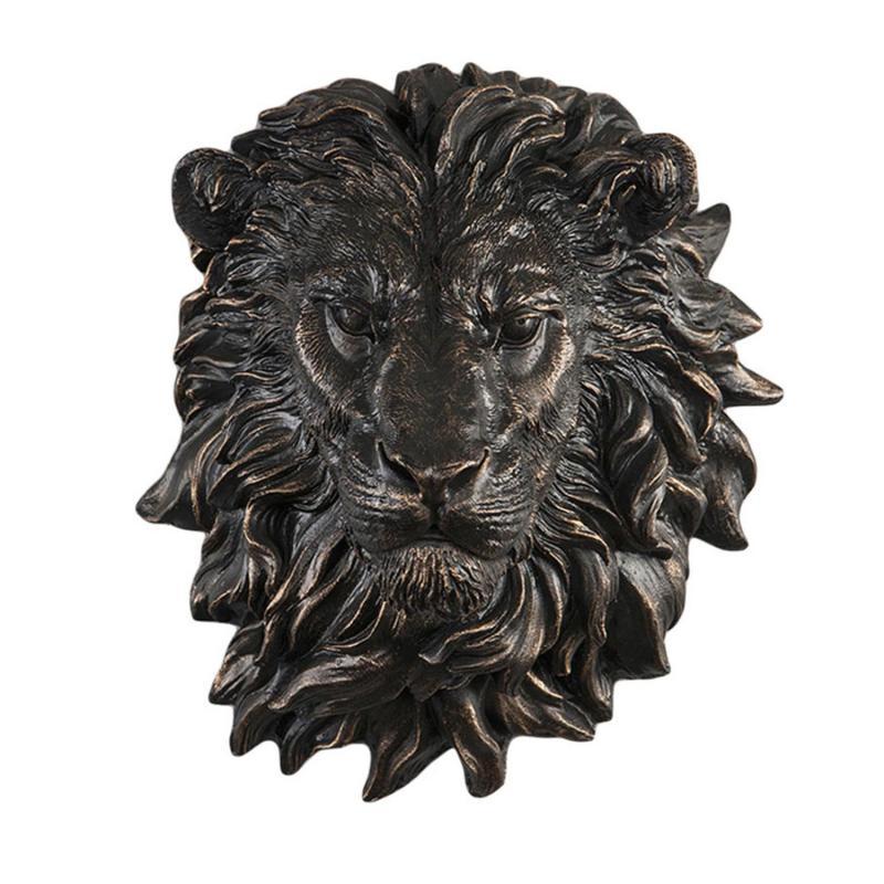 Lejonhuvud- Väggdekoration i brunguld metall