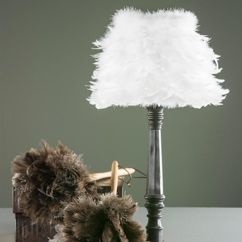Lampskärm med vita fjädrar - mindre fjäderskärm