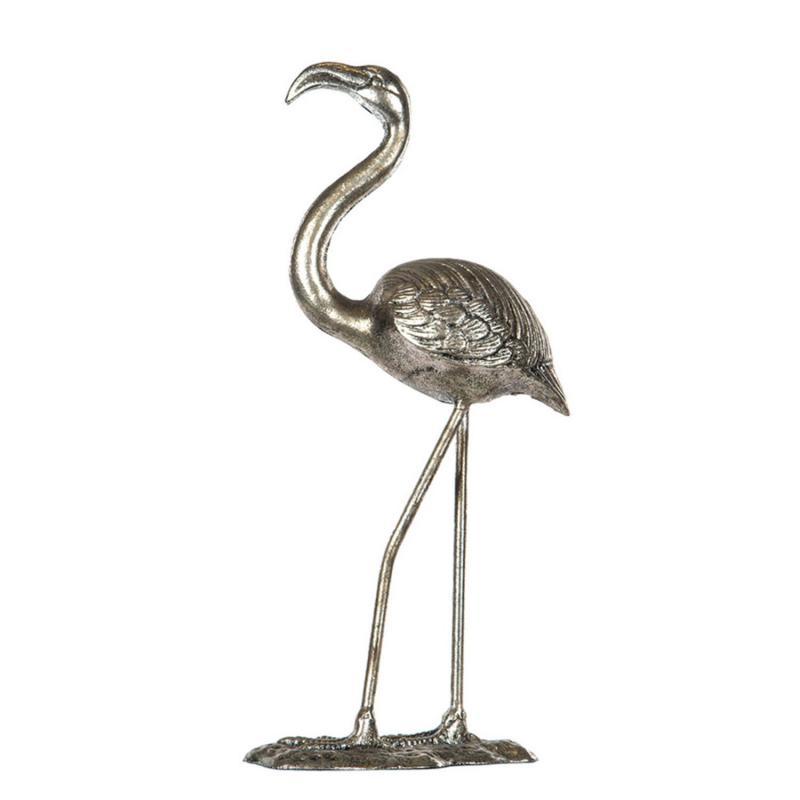 Flamingo- Stor härlig fågel i metall silver