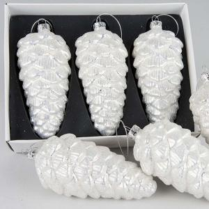 Julgranskula- glaskotte avlång kula i silverglas 3st
