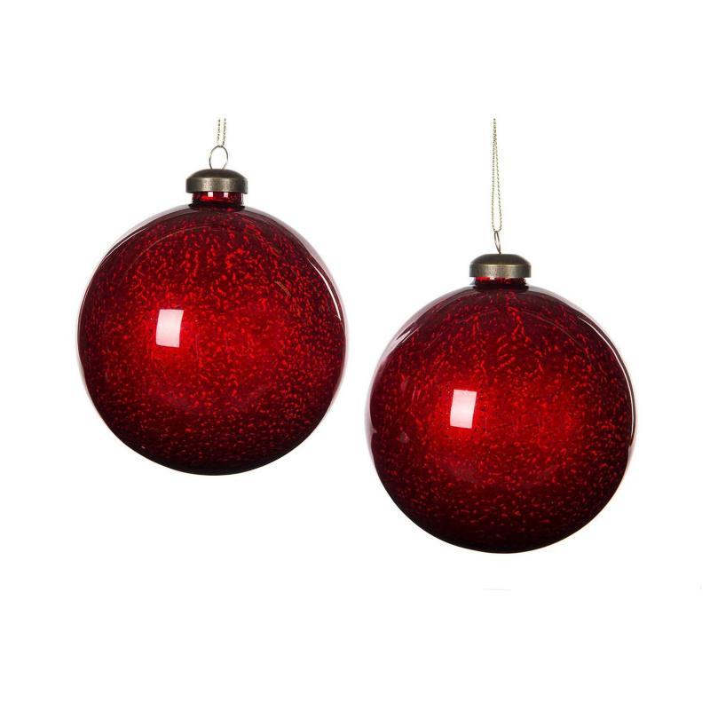 Julgranskula-  2st Stora röda glaskulor