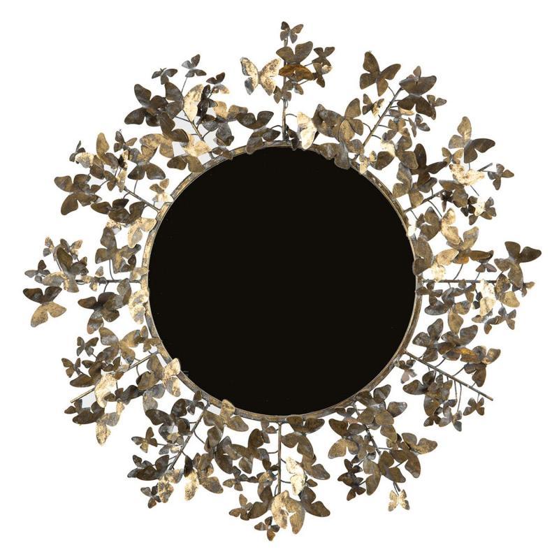 spegel med ram i fjärilsmönster i metall