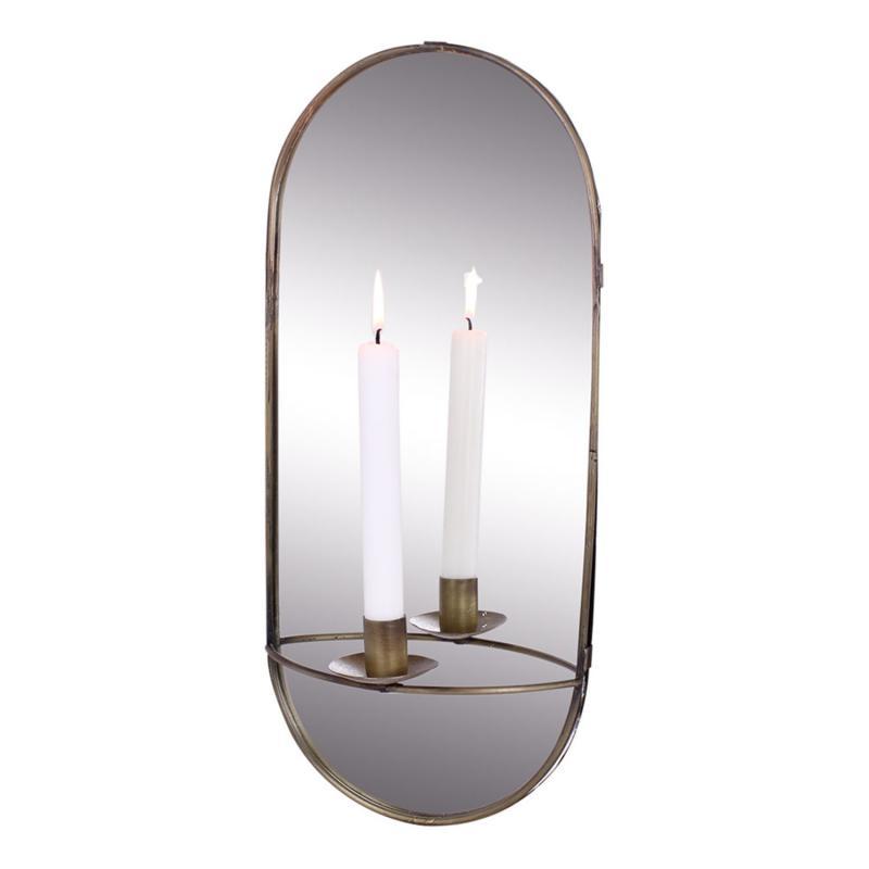 Spegel med ljushållare