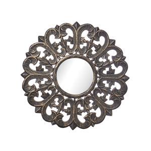 spegel med mönstrad ram i metall
