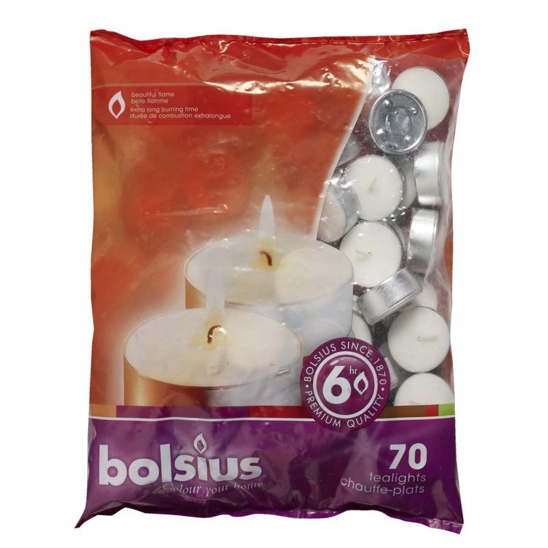 Värmeljus 6h- 70 pack vit