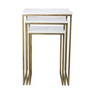 en sats 3 st soffbord i olika höjd och i marmor med metallställningar