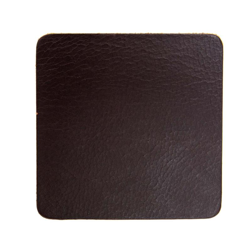 mörkbrunt handgjort glasunderlägg i buffelskinn