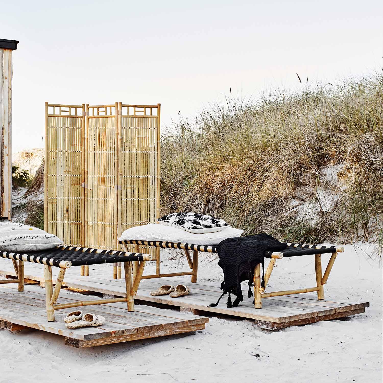 Dagbädd& solstol i bambu och nylonband Rustik säng för ute och inne