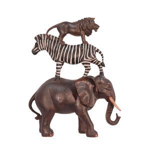 Unik djurpyramid med elefant-zebra och lejon