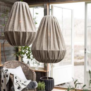 Drop - lampa i stentvättat linne - taklampa i lin