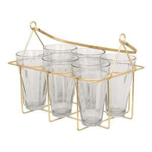 Glashållare med 6 st glas - picknick glas