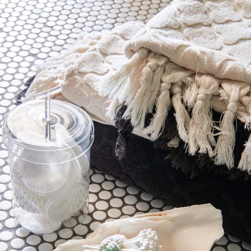 6 st handdukar Marmaris med reliefmönster  och tofsar