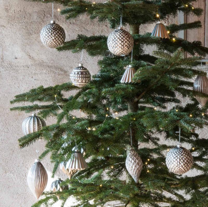 Julgranskula - julkula i gråmelerat glas för dekoratio