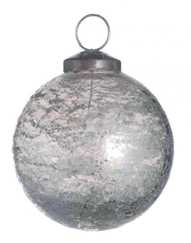 Stor julgranskula i ljusgrått melerat glas