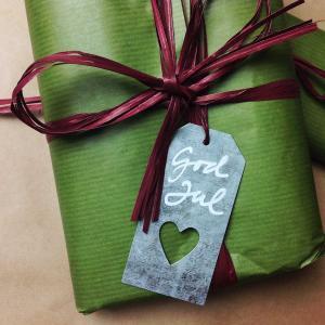 Etikett - skylt i zink - juladress eko