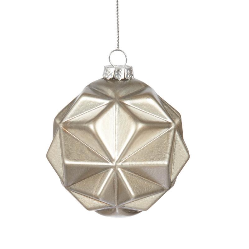 Julkula i guld - julgranskula i svagt guldfärgat glas