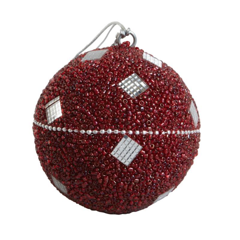 Julpynt - Julkula med glitterande röda pärlor och prismor