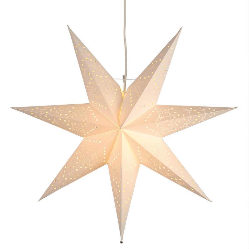 Julstjärna i papper - vit adventsstjärna med sladd
