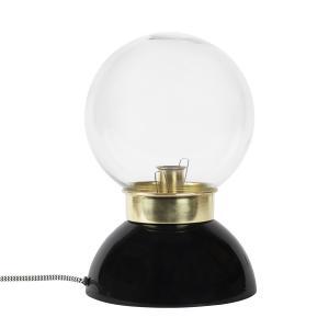 bordslampa med svart bas och kupa i klart glas