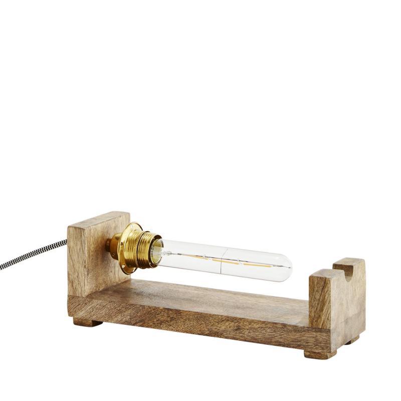 Trälampa i industristil - lampa i trä för gammaldags glödlampa