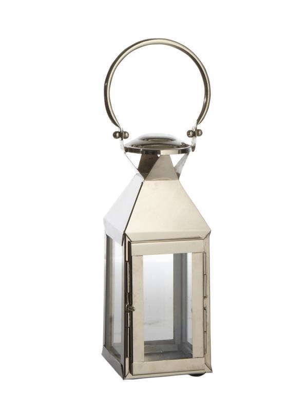Rostfri lykta - lanterna i glas