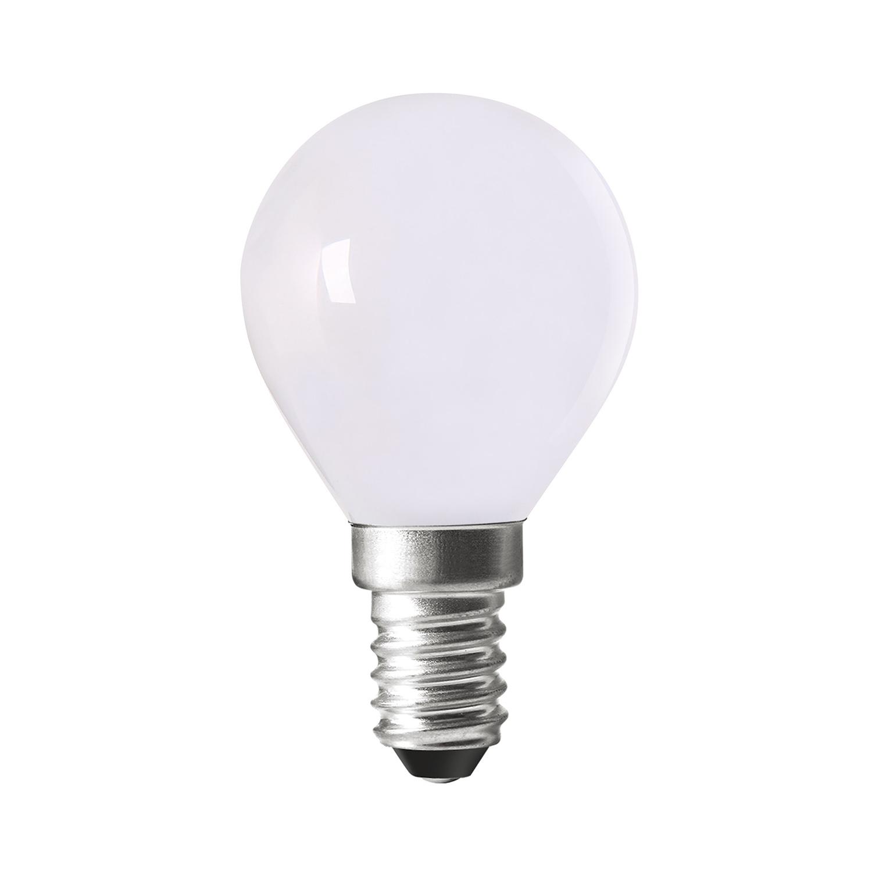 Berömda LED-lampa med tonat vitt glas  - Opal Led-lampa med smal fattning E14 MD-64