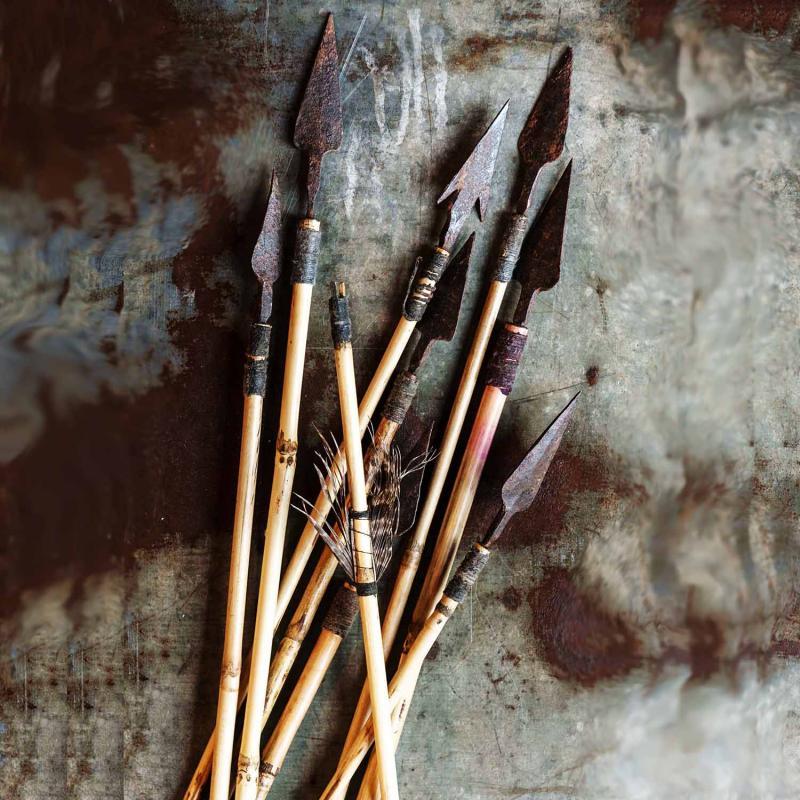 Pil i bambu  - dekorera på jakttem