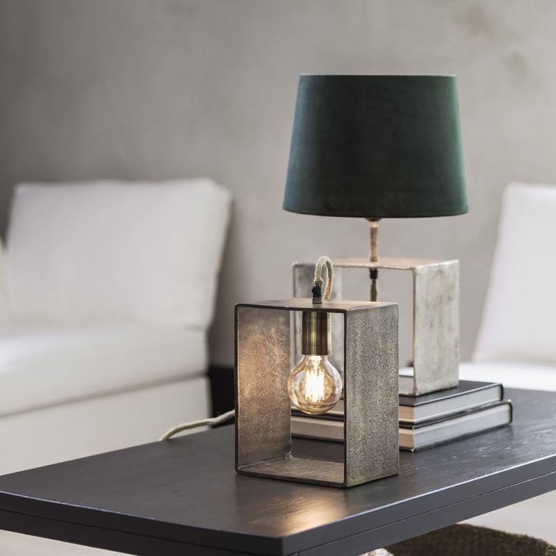 Raw Box Lampfot i råsilver - för naken LED eller glödlampa