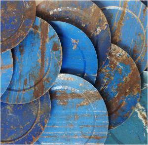 Recycled fat i metall – flagat, fint & rostigt – 30 cm – Affari