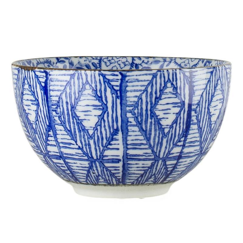 Skål Saga i blåvitt porslin - passar Saga-koppen med guldfötter