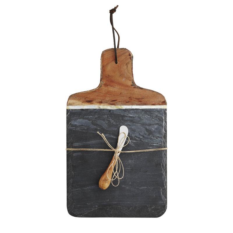 Skärbräda i mörkt skiffer och trä  - bricka i sten