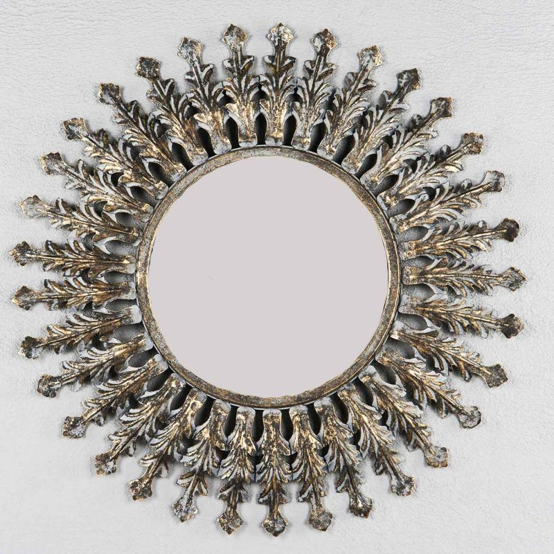 Solspegel i melerad metall - rund spegel