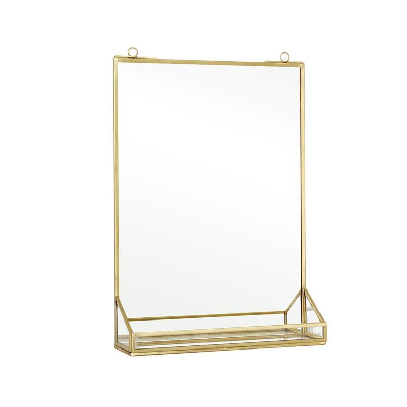 Spegel i mässingsfärg med hylla väggspegel