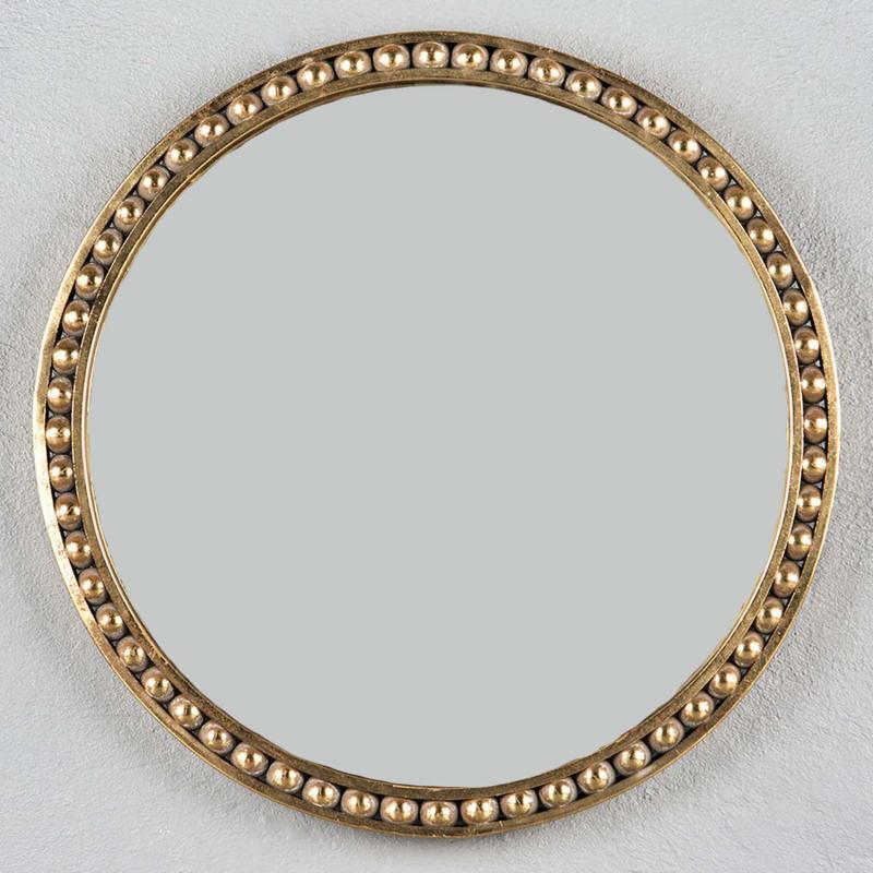 Spegel med pärlrand - rund elegant spegel