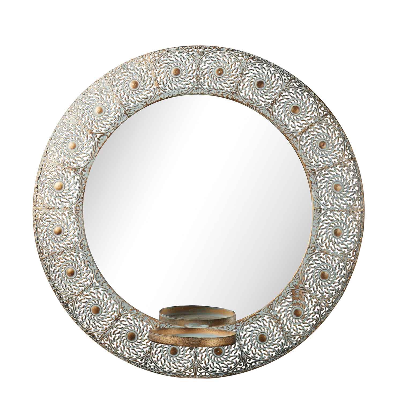 Esmeralda spegel i genombruten metall spegellampett