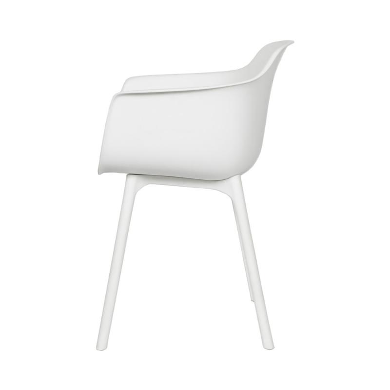 vit modern plaststol från sidan