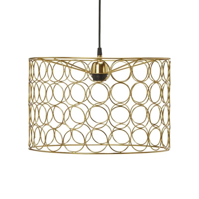 taklampa med ringar i guldfärg som lampskärm