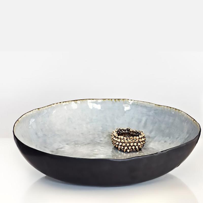 """Grå  stor glaserad skål - salladsskål - potatisskål - serveringsskål -""""Enkelhet"""""""