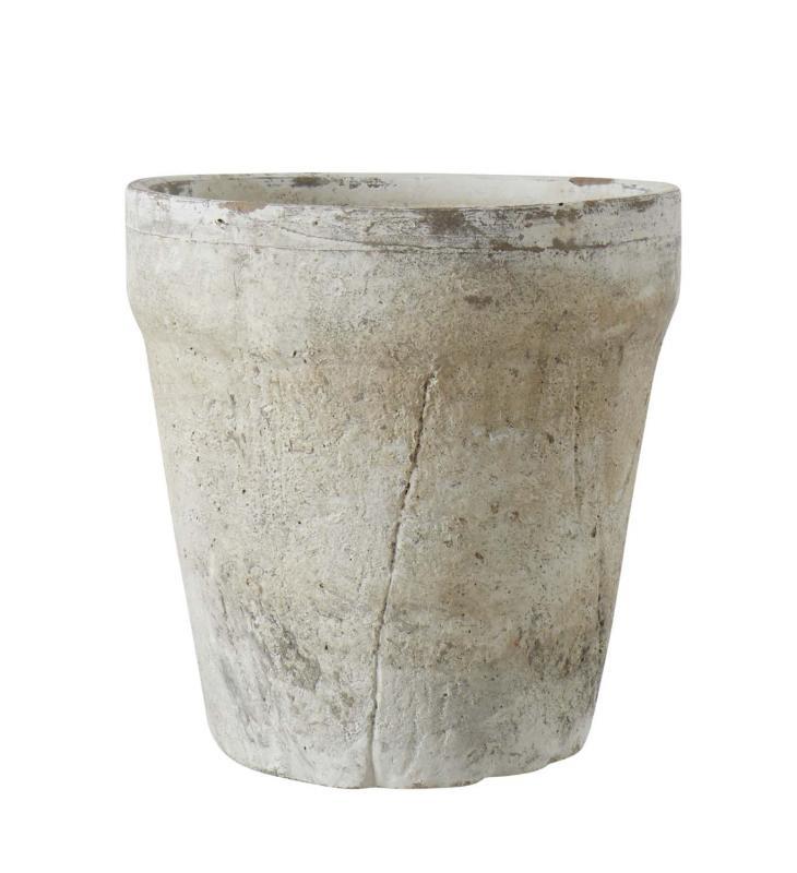 Kruka med mycket patinerad yta - blomkruka med hål
