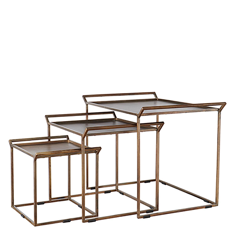 Nykomna Satsbord i set om 3 - soffbord och sidobord i metall - SAtsbord i BW-75