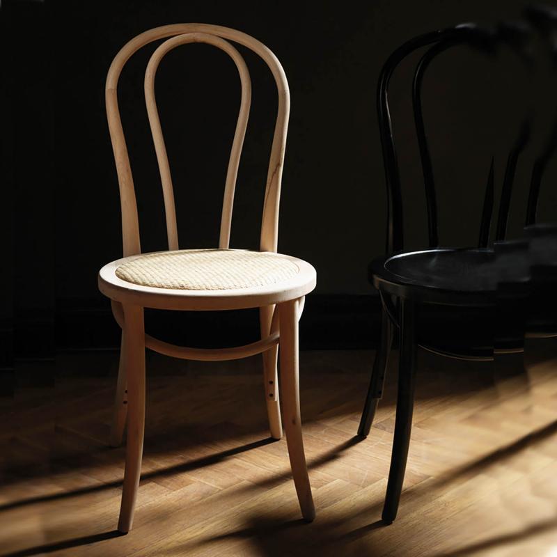 2 st trästol med  med rottingsits - stol i  len björk