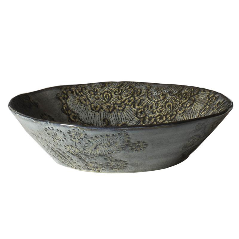 Frida sopp och pastatallrik- keramik med sirliga mönster