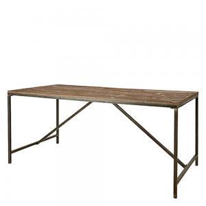 matbord i metall och trä – industristil