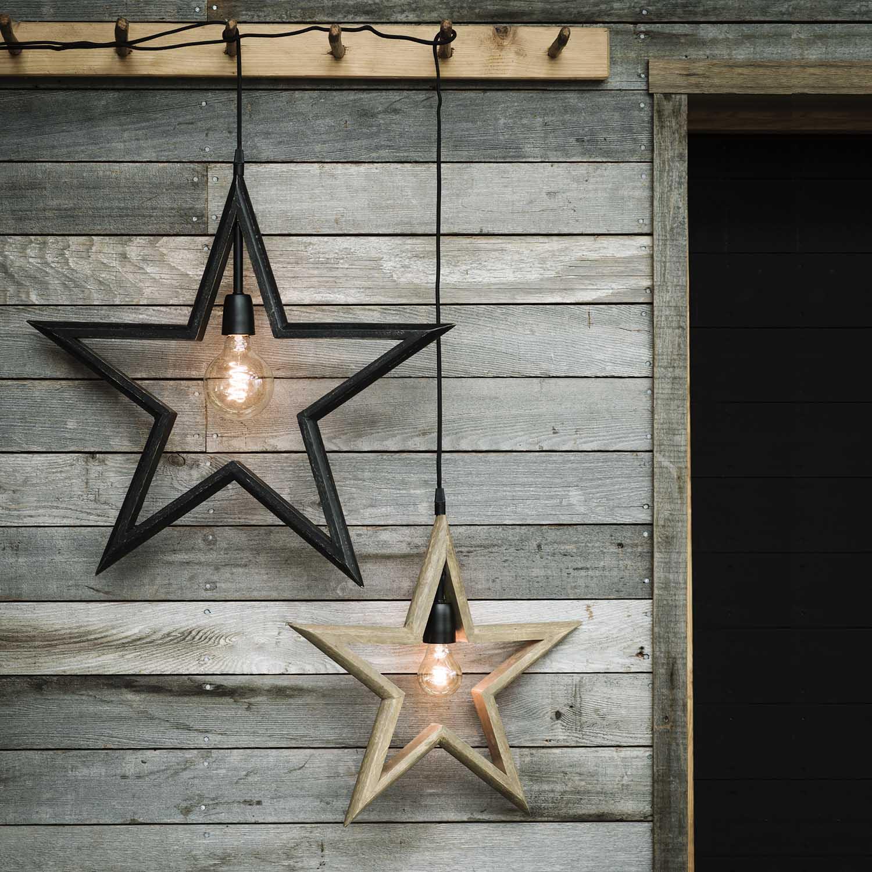 Adventsstjärna PR Home lantlig julstjärna i trä Farm Star 45 cm