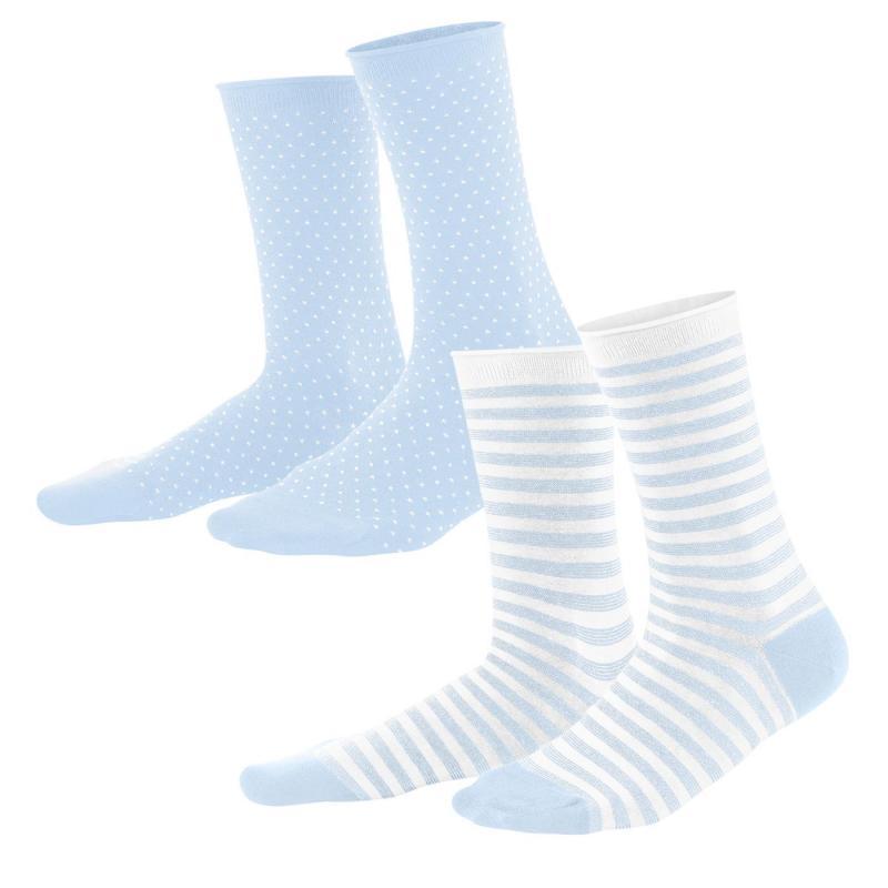 Strumpor 2-p Blue/White