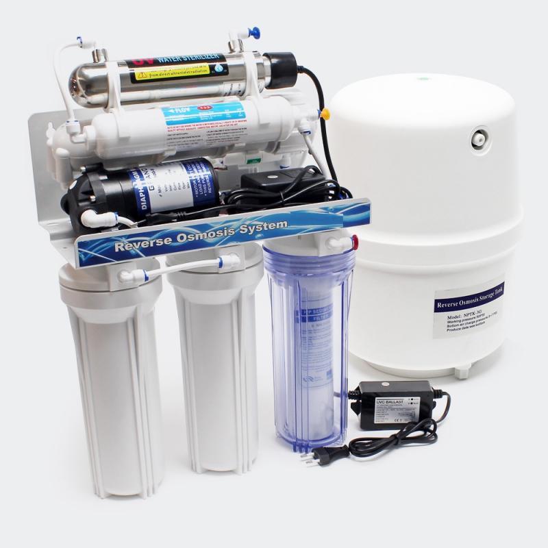 6-Stegs vattenfilter RO 180 L/dygn med UV-filter
