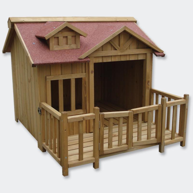 Hundkoja B trä med veranda - vindskydd