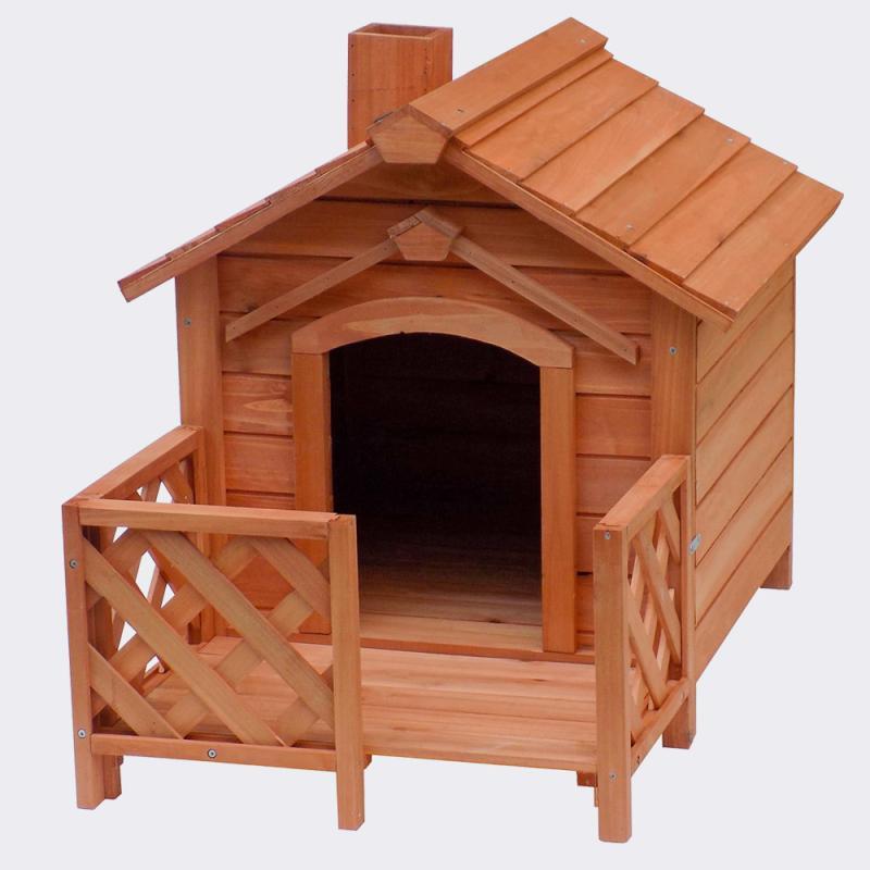 Hundkoja D med veranda och skorsten