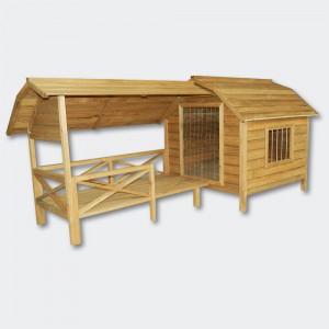 Hundkoja A trä med terrass och lamellerdörr
