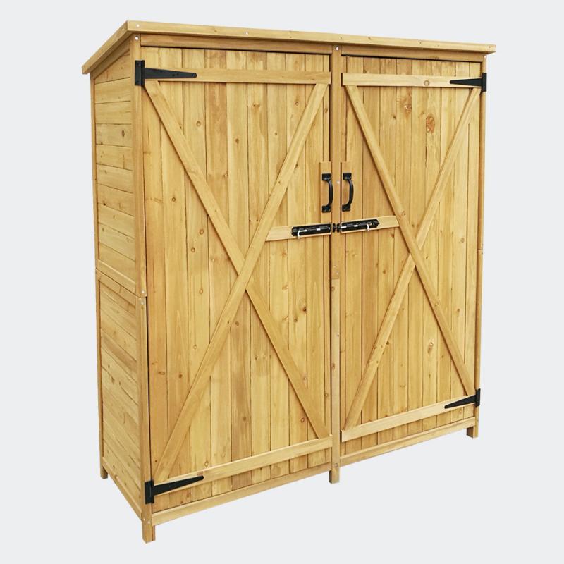 Trädgårdsskåp 2-dörrar, granträ, tjärtak